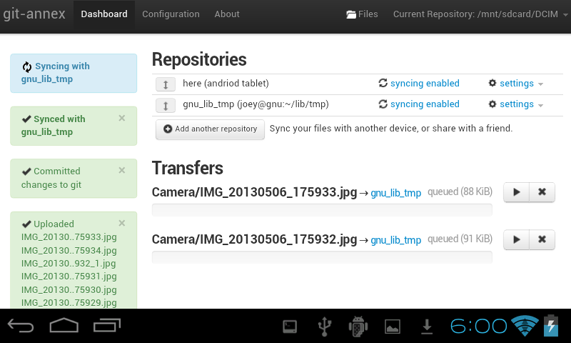 git-annex webapp running on Android