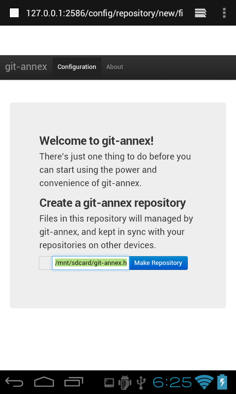 git-annex webapp on Android